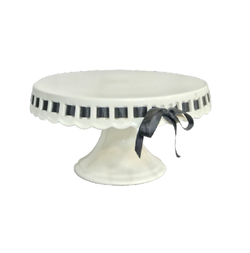TIFFANY CAKE STAND WITH BLACK RIBBON (SMALL)