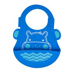 Marcus and Marcus Wide Coverage Silicone Baby Bib - Hippo