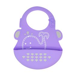 Marcus and Marcus Wide Coverage Silicone Baby Bib - Whale