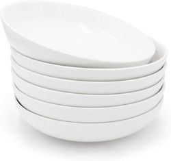 Edge Houseware Round plate set of 6 Porcelain Dinner Dishes Microwave Safe