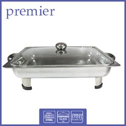 PREMIER	PFS 5439	STAINLESS STEEL RECT FOOD SERVER W/ GLASS LID