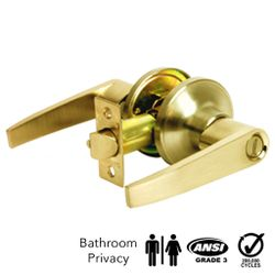 Corona Privacy Keyless Bathroom Lever Lock (Polished Brass)