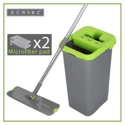 SCRUBZ Heavy Duty Cleaning Essentials Easy Grip Premium Microfiber 360 Flat Mop with Bucket 21cm x 18cm x 36cm