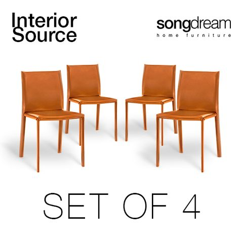 Halo Design Alex Orange Set of 4 Dining Chair Metal Legs