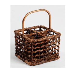Handwoven Condiment Caddy in open weave design with Metal Handle in Gold