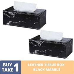 BUY1TAKE1 - LEATHER TISSUE BOX BLACK MARBLE