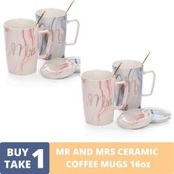BUY1TAKE1 - Mr and Mrs Ceramic Coffee Mugs Gray and Pink Marble Design 16oz