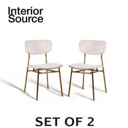 Halo Design Raven Beige Velvet Finished Chair Gold Metal Legs (Set of 2)