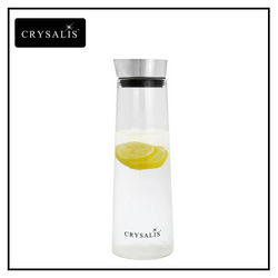 CRYSALIS Premium Clear Glass 1L Pitcher Leak Proof High Quality Stainless Steel Lid Modern Italian Design Amazing Gift Idea For Any Occasion!