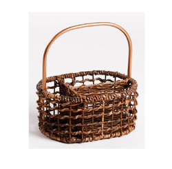 Handwoven Flatware Caddy in open weave with metal handle
