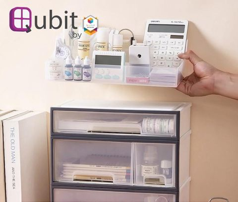 Qubit Level Duo - Transparent stackable storage box cabinet organizer with drawers for home office school