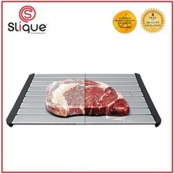 SLIQUE High Density Premium Aviation Aluminum Defrosting Tray with Lid, Tong, Silicone Scrub 30 mins Defrosting Time 6mm Thickness Kitchen Essentials Amazing Gift Idea For Any Occasion!