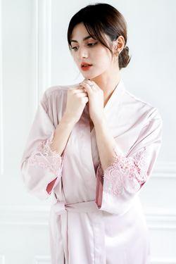 Intissimo Pam (Soft Pink ) Silk Lace Robe1