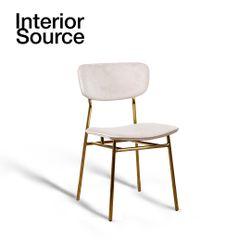 Halo Design Beige Velvet Finished Chair Gold Metal Legs