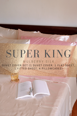 Mulberry Silk Bedsheets (Duvet Set, Super King size)