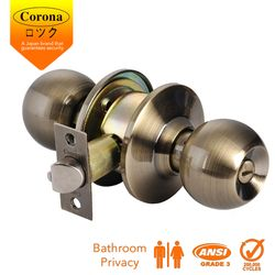 Corona Cylindrical Privacy Keyless Bathroom Lock (Antique Brass)