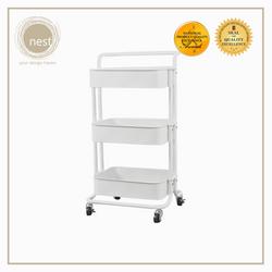 Nest Design Lab Utility Cart 3 Layer Storage Shelf Trolley Rack-Multi Purpose-Stainless - White