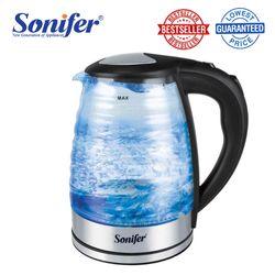 Sonifer Electric Kettle SF-2063 1.8L Electric Glass Kettle Transparent Blue LED Light 1500W Household Kitchen Quick Heating Electric Boiling Tea Pot Sonifer