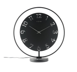 NeXtime Ting Table Clock With Light 40X43Cm, Black