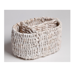 Hand Woven Oval Tabletop Caddy with 3 divisions