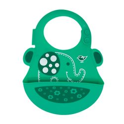 Marcus and Marcus Wide Coverage Silicone Baby Bib - Elephant