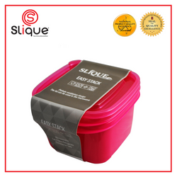 Slique - 2pc Set Square Crisper Food Container 1000ml (Pink)