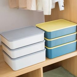 Homescapes Compartment NO-GRID Storage Box Organizers with lid (GRAY)