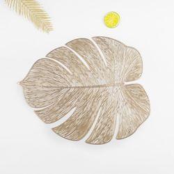 Homescapes Leaf Shape PVC Placemat Gold x 4 Pieces