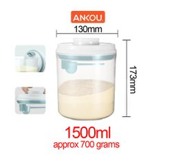 Ankou Airtight 1 Touch Button Clear Container With Scoop Spoon and Holder 1500ml (Round)