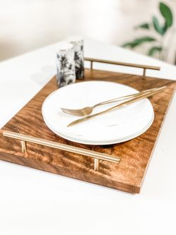 Mayfair & Co. SEVILLE Acacia SERVING Tray with Stainless Steel Handles in Brushed  Gold