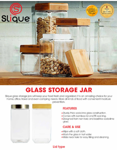 Slique Glass Food Storage Large Container Set, Air tight Food Jars with Bamboo Wooden Lids, Set of 2