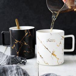 Nordic Style Marble Matte Gold Series Ceramic Mug