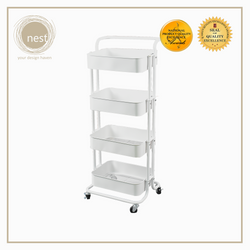 Nest Design Lab Multi-Purpose 4 Layer Stainless Steel Shelf Storage Utility Trolley with Wheels - White