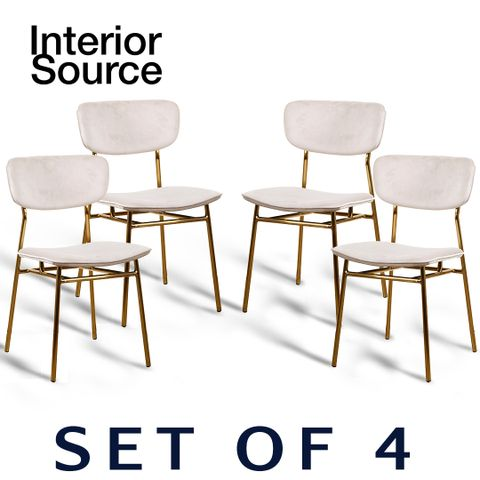 Halo Design Raven Beige Velvet Finished Chair Gold Metal Legs (Set of 4)