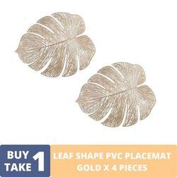 BUY1TAKE1 - Gold PVC Leaf Placemat