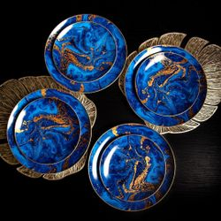 Homescapes Blue Marble Swirl Dinnerware Set of 8 (Good for 4pax)