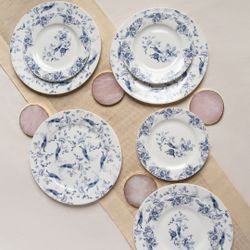 Homescapes Toile Blue and White Dinnerware Set of 8 (Good for 4pax)