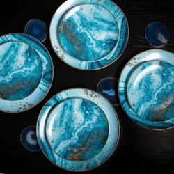 Homescapes Arctic Gold Dinnerware Set of 8 (Good for 4pax)