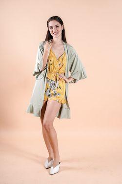 Intissimo Ruffles  Silk Lace Robe (Sage Green)