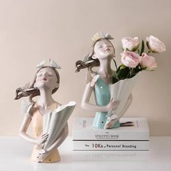 Happy Home PH Lady in Butterfly Flower Vase Figurine