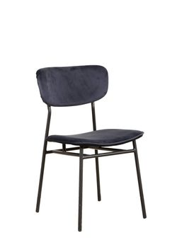 Halo Design Raven Chair Royal Blue Velvet Finished Black Metal Legs