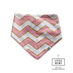Little Wywy Bandana Bib Regular Bamboo -  Chevron Pearlized Pink