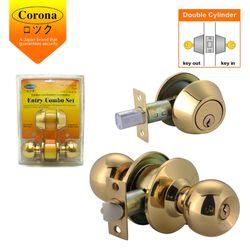 Corona Entrance Keyed & Double Deadbolt Combination Lock (Polished Brass)