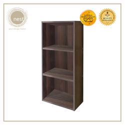 Nest Design Lab Low Open Cabinet 3 Layer Shelf- Storage Organizer-Wenge