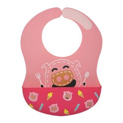 Marcus and Marcus Wide Coverage Silicone Baby Bib - Pig