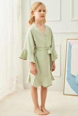 Intissimo  Silk Lace Robe Ruffles Teens (Sage Green)