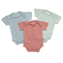 BabyStudio Organic Bamboo Short Sleeve Onesie (Pack of 3 - Assorted Colors)