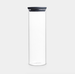 Brabantia Stackable Glass Jar - 1.9L - Dark Grey Lid