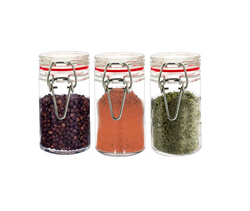 Masflex 3 Piece Glass Spice Jar With Glass Lid