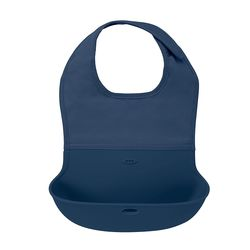 Tickled Babies Oxo Tot Waterproof Silicone Roll-Up Bib With Comfort-Fit Fabric Neck - Navy
